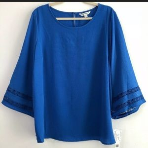 Counterparts Blue Flare Blouse Tunic Small NWT